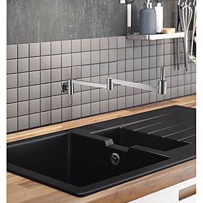 billige Uttrekkbar Spray-Kjøkken Kran - To Håndtak et hull Krom / Flerlags Køkkenkran Centersat Tradisjonell Kitchen Taps