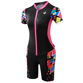 cheap Sports & Outdoor Super Clearance-Malciklo Women's Short Sleeve Triathlon Tri Suit - Black / Pink Plus Size Bike Breathable Anatomic Design Ultraviolet Resistant Reflective Strips Sweat-wicking Sports Polyester Spandex Coolmax®