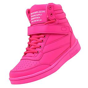 voordelige Damessneakers-Dames Sneakers Sleehak Ronde Teen Gesp PU Korte laarsjes / Enkellaarsjes Comfortabel Herfst Fuchsia / Perzik / Groen