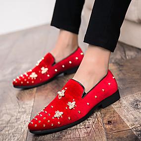 6681aa5bad Hombre Zapatos formales Ante Otoño invierno Zapatos de taco bajo y Slip-On  Negro   Rojo   Boda   Fiesta y Noche