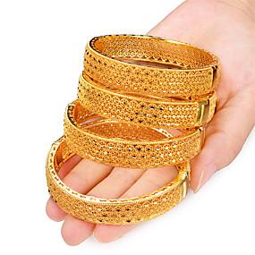 baratos Pulseiras Vintage-4pçs Mulheres Bracelete Pulseiras Algema Clássico Criativo senhoras Luxo Étnico Dubai Italiano Chapeado Dourado Pulseira de jóias Amarelo Para Festa Presente