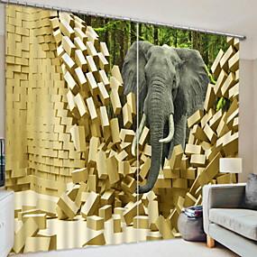 رخيصةأون الستائر-تعتيم ستائر ثلاثية الأبعاد 2 * (W110cmxL180cm) أصفر / غرفة النوم