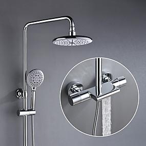 cheap Sale-Shower Faucet - Contemporary Chrome Shower System Ceramic Valve Bath Shower Mixer Taps / Brass / Two Handles Three Holes