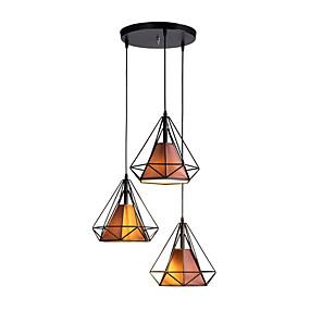abordables Plafonniers-3 lumières Géométrique / Mini Lampe suspendue Lumière dirigée vers le bas Finitions Peintes Métal Tissu Design nouveau 110-120V / 220-240V Ampoule non incluse / FCC / E26 / E27