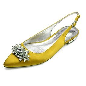 billige Sko i store størrelser-Dame bryllup sko Flat hæl Spisstå Rhinsten / Gummi Sateng Komfort / Slingback Sko Vår sommer Blå / Lysebrun / Krystall / Bryllup / Fest / aften