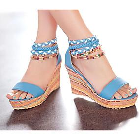 cheap Women's Wedges-Women's Sandals Comfort Shoes Wedge Heel PU(Polyurethane) Summer White / Orange / Blue / EU36