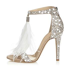 Women s PU(Polyurethane) Summer Basic Pump Sandals Stiletto Heel Open Toe  Rhinestone Almond   Wedding   Party   Evening   Party   Evening 7dd26dd75355
