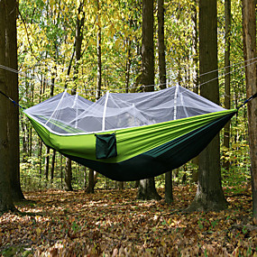 cheap Free shipping over $100, Sports & Outdoor-Camping Hammock with Mosquito Net Double Hammock Outdoor Ultra Light (UL) Portable Breathable Anti-Mosquito Parachute Nylon with Carabiners and Tree Straps 2 person Camping Hiking Hunting Army Green