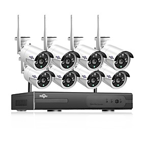 cheap Security Systems-Hiseeu® 1080P Wireless CCTV System HDD 2MP 4CH Powerful NVR IP IR-CUT  CCTV Camera IP Security System Surveillance Kits