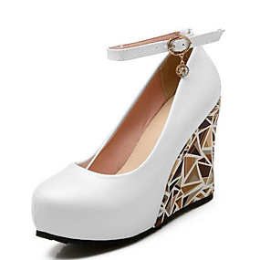 cheap Women's Wedges-Women's Heels Comfort Shoes Wedge Heel Synthetics Fall Black / Pink / Light Blue / Daily