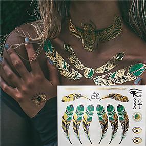 voordelige tattoo stickers-3 pcs Metallic Tijdelijke tatoeages Bloemen Series / Romantische serie Milieuvriendelijk / Nieuw Design Lichaamskunst Klankkast / arm / pols / Metallic sieraden tatoeages