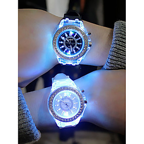821a4f8d2 رخيصةأون -0.5-رجالي نسائي سيدات ساعة رياضية الماس ووتش كوارتز سيليكون أسود  / الأبيض