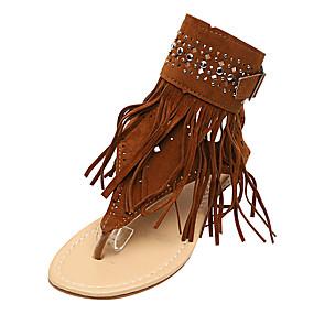 voordelige Wijdere maten schoenen-Dames Sandalen Britse stijl geruite schoenen Platte hak Open teen  Kralen / Gesp / Kwastje Suède Comfortabel / Slingback Zomer Zwart / Beige / Bruin