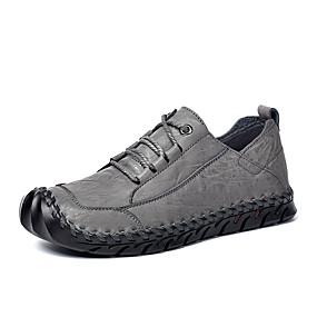 baratos Sapatilhas e Mocassins Masculinos-Homens Sapatos Confortáveis Pele Napa / Pele Primavera Verão Tênis Preto / Cinzento
