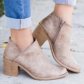 billige Mote Boots-Dame Støvler Ankelstøvel Tykk hæl Spisstå PU Ankelstøvler Britisk Høst vinter Brun / Lyseblå / Kakifarget / EU40