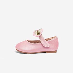 Недорогие Обувь и сумки-Девочки Полиуретан На плокой подошве Малыш (9м-4ys) Удобная обувь Бант / На липучках Черный / Розовый Лето / Резина