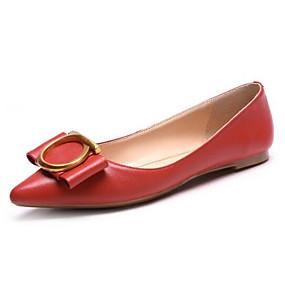 abordables Chaussures Plates pour Femme-Femme Chaussures de confort Cuir Nappa Printemps / Eté Doux Ballerines Talon Plat Noeud Noir / Rouge