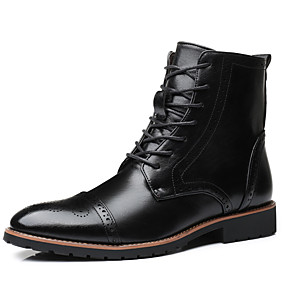cheap Men's Boots-Men's Combat Boots Faux Leather Fall & Winter Classic / Chinoiserie Boots Water Proof Black / Red / Outdoor
