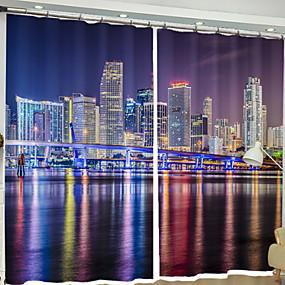 abordables Cortinas 3D-Modern Cortinas 3D Dos Paneles Cortina / Oscuridad / Dormitorio