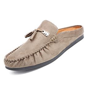 baratos Tamancos Masculinos-Homens Sapatos Confortáveis Couro Ecológico Outono Casual Tamancos e Mules Não escorregar Preto / Cinzento / Khaki
