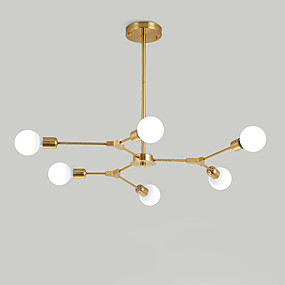 cheap Lighting Fixtures-Electroplated Northern Europe Chandelier 6-Head Modern Metal Molecules Pendant Lights Living Room Dining Room Bedroom