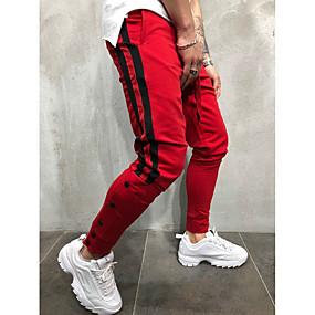 ราคาถูก Tendências de Verão 2019 – Para Eles-สำหรับผู้ชาย พื้นฐาน / Street Chic ทุกวัน Sport ฮาเร็ม / กางเกงวอร์ม กางเกง - ลายแถบ / ลายบล็อคสี สีดำและสีแดง / Black & White, สายผูก สีดำ ทับทิม สีเหลือง XL XXL XXXL
