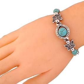 abordables Bracelet Vintage-Bracelet Femme 3D Turquoise Papillon Verseau dames Rétro Vintage Elizabeth Locke Bracelet Bijoux Argent pour Quotidien