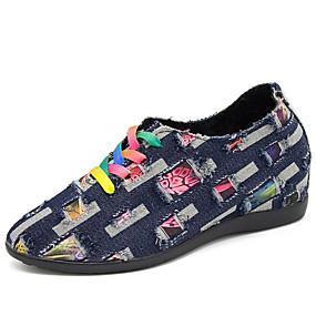 Χαμηλού Κόστους Γυναικεία Αθλητικά-Γυναικεία Αθλητικά Παπούτσια Παπούτσια άνεσης Τακούνι Σφήνα Στρογγυλή Μύτη Ντένιμ Καθημερινό Φθινόπωρο Σκούρο μπλε / Μπλε Απαλό / Συνδυασμός Χρωμάτων