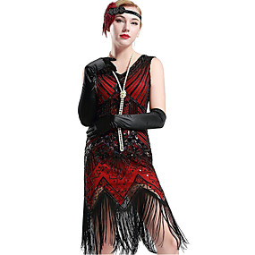 cheap Toys & Hobbies-The Great Gatsby 1920s The Great Gatsby Roaring Twenties Costume Women's Dress Flapper Headband Headwear Vintage Necklace Red black Vintage Cosplay Polyester Party Prom Sleeveless / Sequins