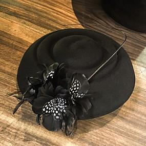 povoljno Kentucky Derby Hat-100% vuna Kentucky Derby Hat / kape s Perje 1pc Kauzalni / Dnevni Nosite Glava