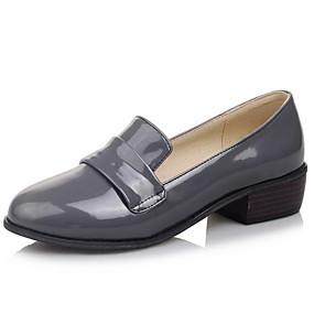 voordelige Damesschoenen met platte hak-Dames Lakleer Lente Informeel / minimalisme Platte schoenen Blokhak Gepuntte Teen Zwart / Grijs / Rood