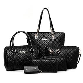 Női Táskák PVC táska szettek 5 db erszényes készlet Fehér   Fekete   Barna 44710fa5f3