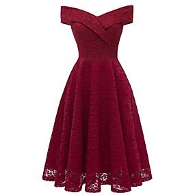 povoljno Crvene haljine-Žene Party Izlasci Vintage A kroj Haljina - Čipka, Jednobojni Spuštena ramena Do koljena / Sexy