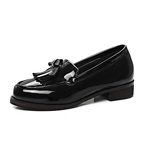 voordelige Damesinstappers & loafers-Dames PU Lente Loafers & Slip-Ons Blokhak Wit / Zwart / Bordeaux