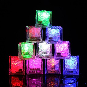 cheap Clearance-12pcs DIY Colorful Flash LED Ice Cubes Wedding Festival Decor Party Props Luminous LED Glowing Induction Ice CubesChristmas New Year Bar