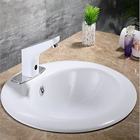 cheap Induction Faucets-Bathroom Sink Faucet - Sensor Chrome Free Standing Hands free One HoleBath Taps