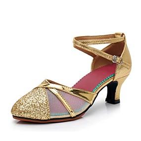 3ebb4b7186066 نسائي أحذية عصرية المواد التركيبية كعب شىء صغير براق كعب كوبي مخصص أحذية  الرقص ذهبي   أسود   فضي