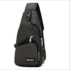 ราคาถูก Shoes & Bags-สำหรับผู้ชาย ซิป กระเป๋าสะพายสลิง ไนลอน สีดำ / สีเทา / สีม่วง