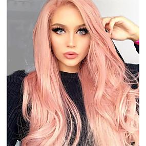 billige Pink & Red Lace Wigs-Ubehandlet hår Helblonde Parykk Deep Parting Kardashian stil Brasiliansk hår Rett Lyserød Fargerik Parykk 130% Hair Tetthet 12-24 tommers med baby hår 100% Jomfru med klipp Med Blekt Knotter Dame