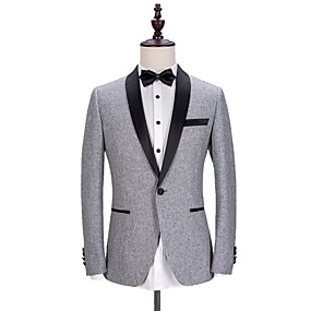 cheap Prom Suits-Solid Colored Tailored Fit Polyester Suit - Shawl Collar Single Breasted One-button / Suits
