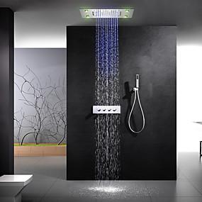 cheap Home Improvement-Shower Faucet - Contemporary Chrome Shower System Ceramic Valve Bath Shower Mixer Taps / Brass