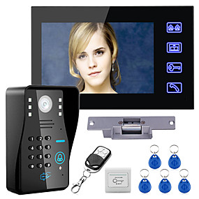 cheap Access Control Systems-Wired 7 inch Hands-free  One to One Video Doorphone 960*480 Intercom System Kit Electric Strike Lock Wireless Remote Control Unlock