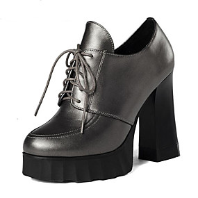 3ae900e9f51c Women s Nappa Leather Spring   Fall British Oxfords Chunky Heel Pointed Toe  Black   Champagne