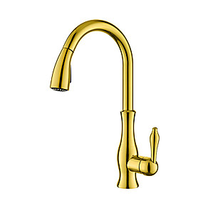 cheap Kitchen Faucets-Kitchen faucet - One Hole Ti-PVD Pull-out / ­Pull-down Deck Mounted Traditional Kitchen Taps / Brass / Single Handle One Hole