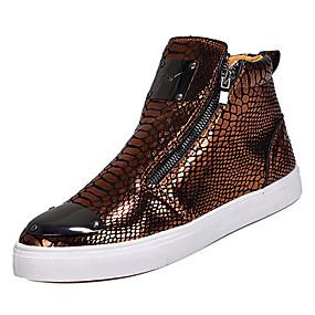 8bee8b9aaf7 Homens Sapatos Confortáveis Couro Ecológico Primavera Casual Tênis Não  escorregar Dourado   Preto   Prateado