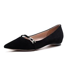 voordelige Damesschoenen met platte hak-Dames Suède / Schapenleer Lente Zoet / minimalisme Platte schoenen Lage hak Gepuntte Teen Zwart / Oranje / Grijs
