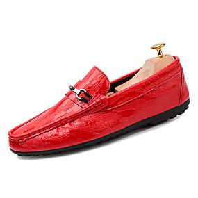 baratos Sapatos Náuticos Masculinos-Homens Mocassim Couro Ecológico Primavera Casual Sapatos de Barco Respirável Branco / Preto / Vermelho