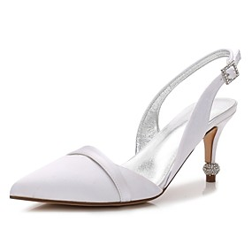 cheap New Arrivals-Women's Satin Spring & Summer Sweet Wedding Shoes Stiletto Heel Pointed Toe Sparkling Glitter Blue / Champagne / Ivory / Party & Evening