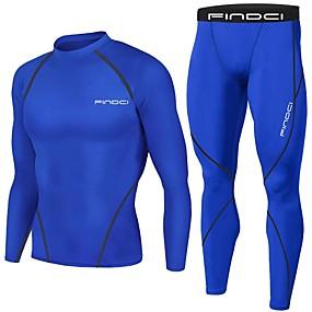 رخيصةأون ملابس الضغط-FINDCI رجالي بدلة ضغط أزرق البحرية بورجوندي أزرق بحري داكن رياضات موضة طبقة القاعدة قميص ضغط وسروال التدريب النشط ركض تمرين نادي رياضي كم طويل ألبسة رياضية خفة الوزن متنفس يلف العرق قابل للبسط نحيل