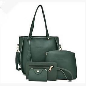 Női Táskák PU táska szettek 4 db erszényes készlet Rojt Tömör szín  Világosszürke   Barna   Stétszürke 96b18e48a9